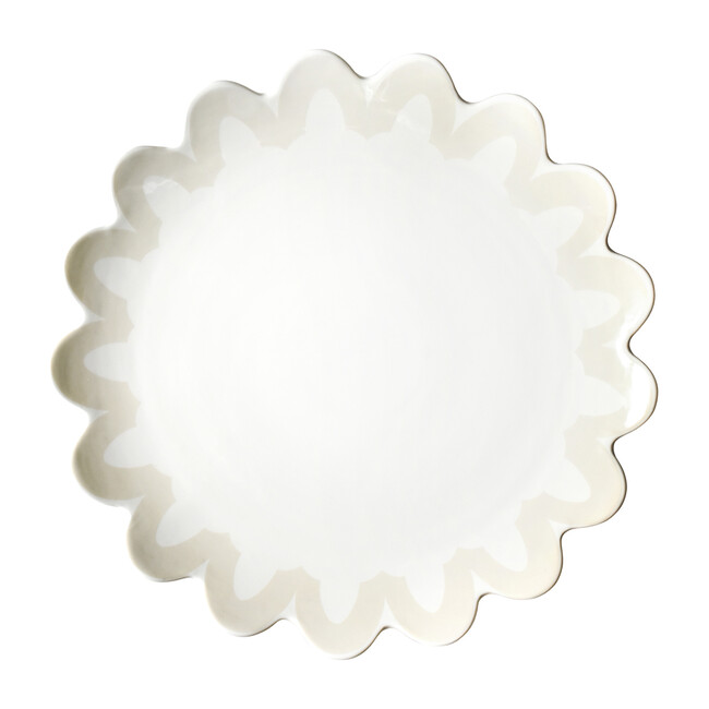 Arabesque Trim Scallop Edge Platter, Ecru