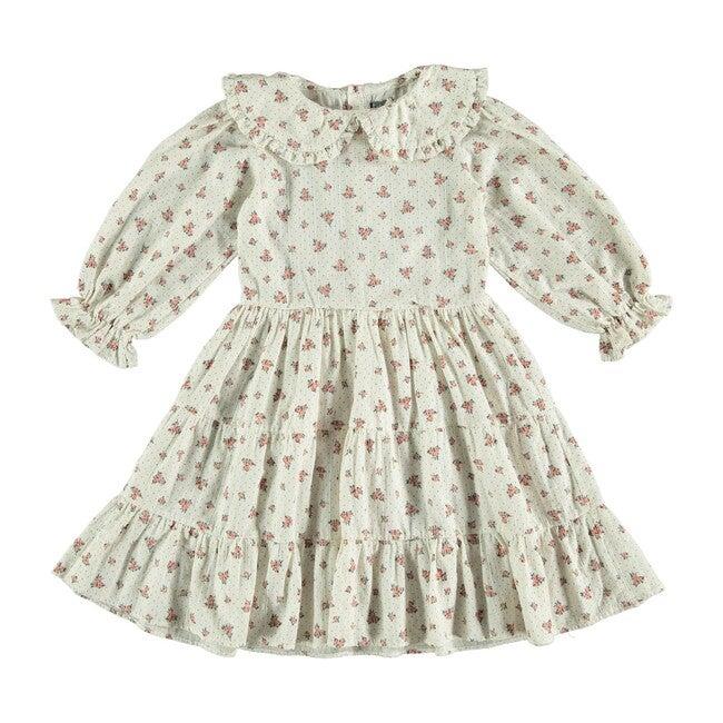 Puff Sleeve Flower Dress, Off White
