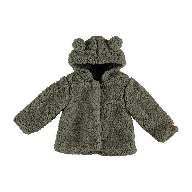 Hood Faux Fur Jacket, Grey