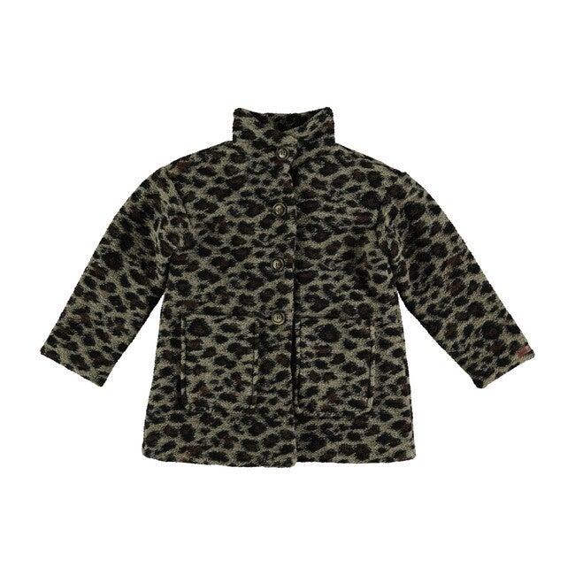 Animal Print Coat, Dark Brown