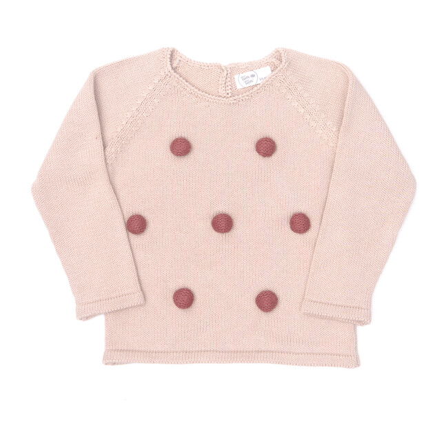 Knitted Pompom Sweater, Pink & Burgundy