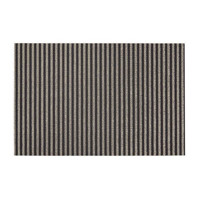 Breton Stripe Shag Floor Mat, Gravel