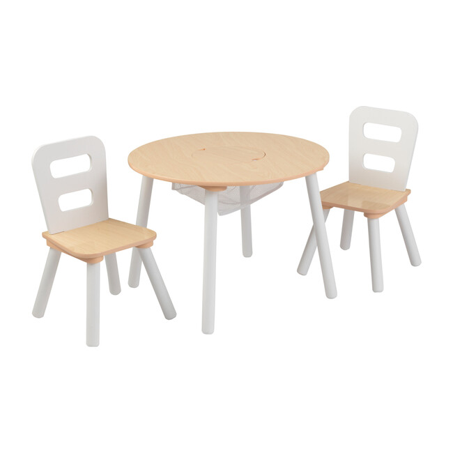 Round Storage Table and 2 Chair Set, Natural/White