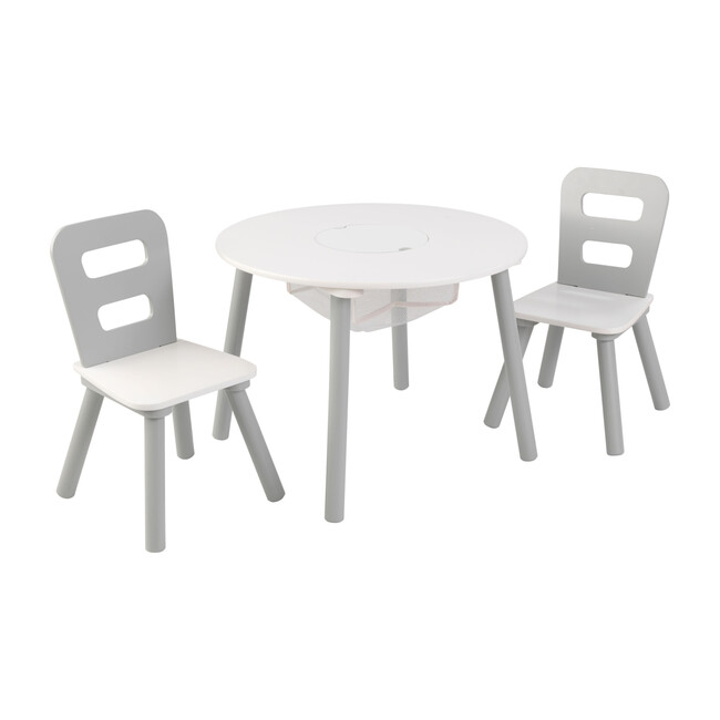 Round Storage Table and 2 Chair Set, Gray/White