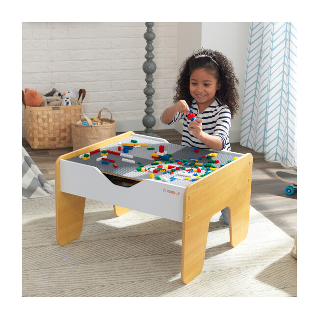 2-in-1 Activity Table with Board, Gray/Natural