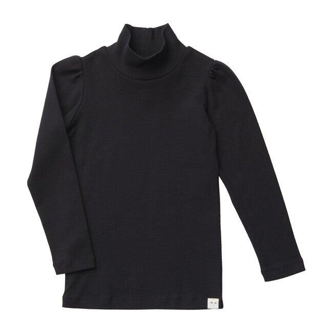 Clemence Puff-Sleeve Turtleneck, Black