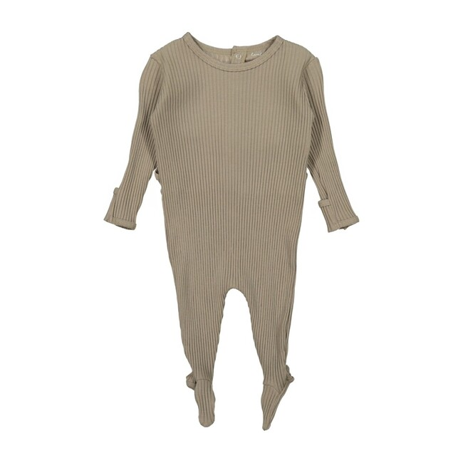 Ribbed Snap Romper, Taupe
