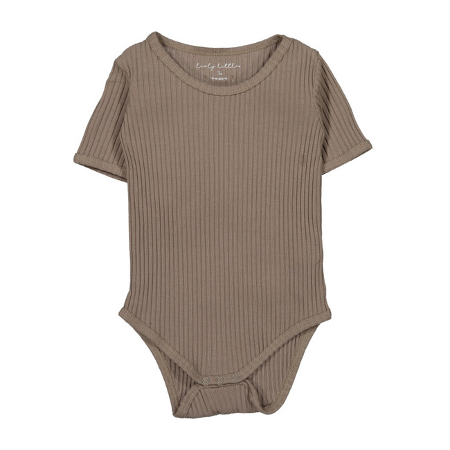 Ribbed Short Sleeve Onesie, Taupe