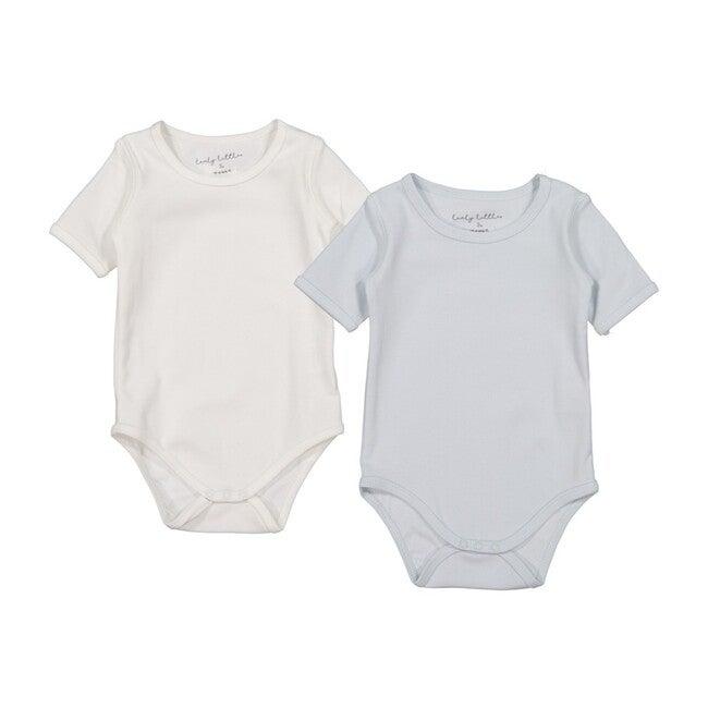 Cotton Short Sleeve Onesies Bundle, Sky Blue & White