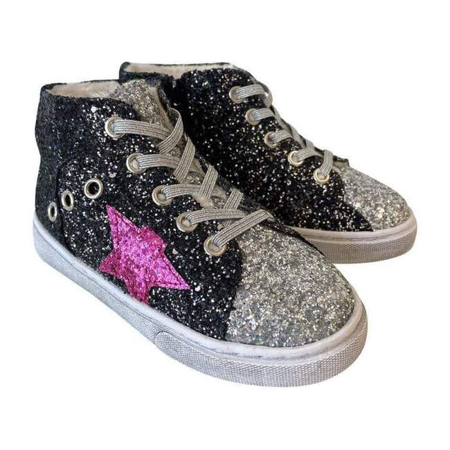 Glitter Star Hi Top Sneakers, Black