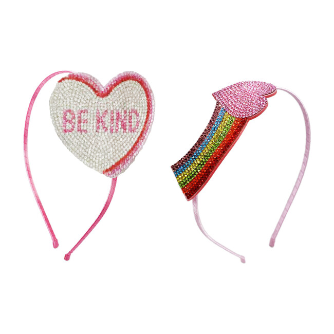 Rainbow Heart & Be Kind Emoji Thin Headband