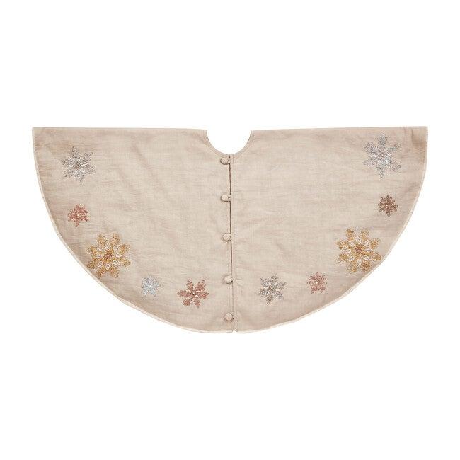Tree Skirt, Pastel Snowflakes on Natural Linen