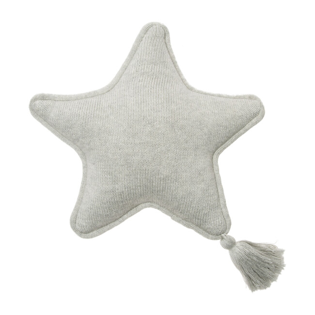 Knitted Twinkle Star Cushion, Grey