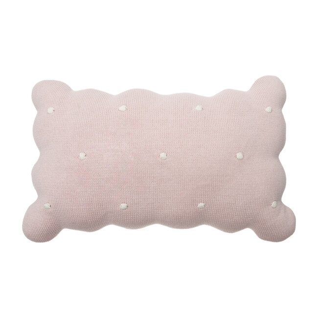 Knitted Biscuit Cushion, Pink