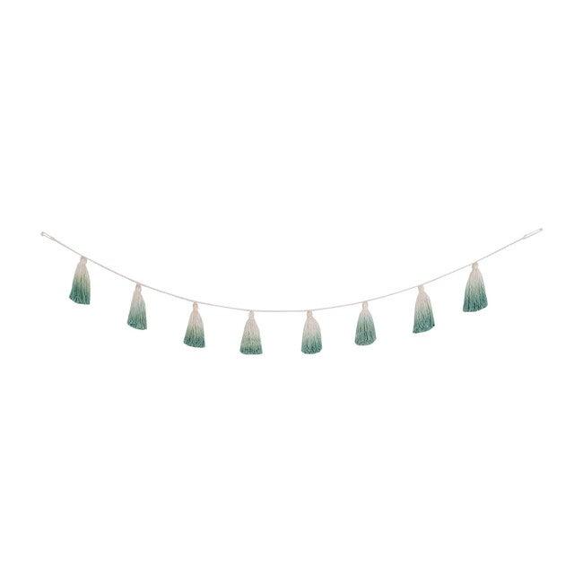 Tie-Dye Tassel Garland, Green