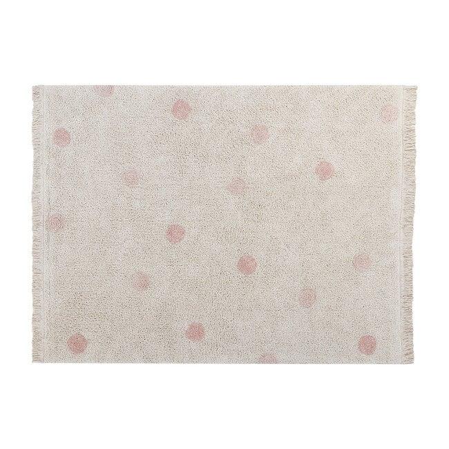 Hippy Dots Washable Rug, Natural/Vintage Nude