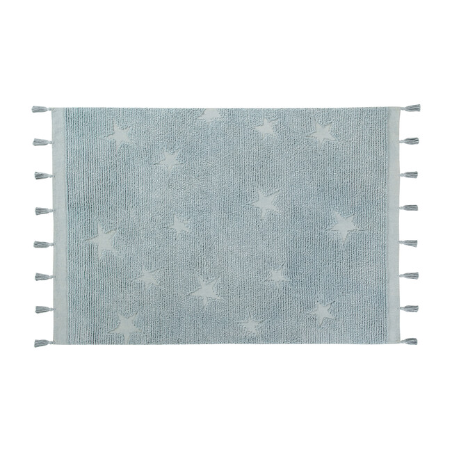 Hippy Stars Washable Rug, Blue