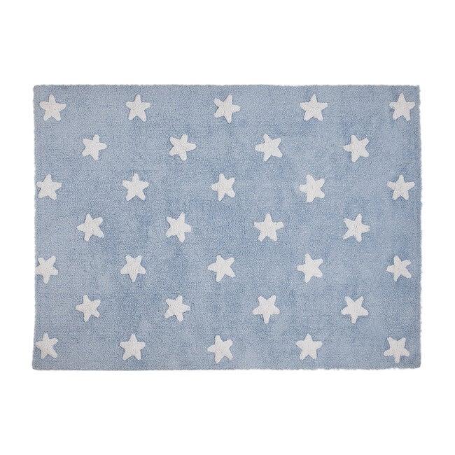 Stars Washable Rug, Blue/White