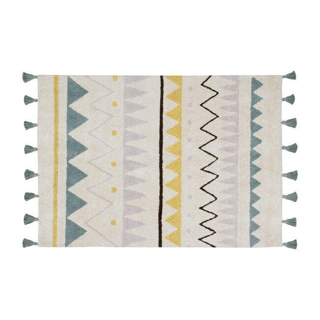 Azteca Natural Washable Rug, Vintage Blue