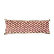 Artisan Hand Loomed Cotton Lumbar Pillow, Red with Green Stitching