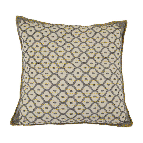 Artisan Hand Loomed Cotton Square Pillow, Gray with Yellow Stitching