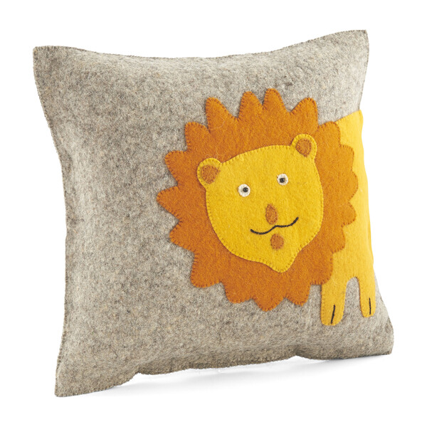 Hand Felted Wool Cushion Cover, Yellow Lion