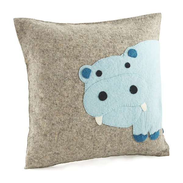 Hand Felted Wool Cushion Cover, Blue Hippo