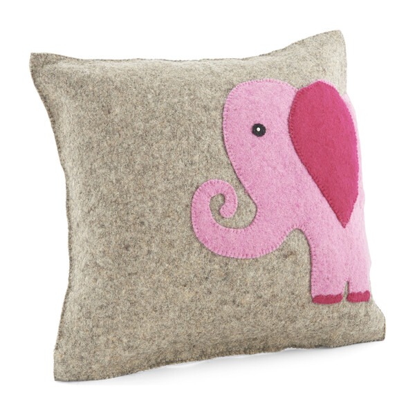 Hand Felted Wool Cushion Cover, Pink Elephant