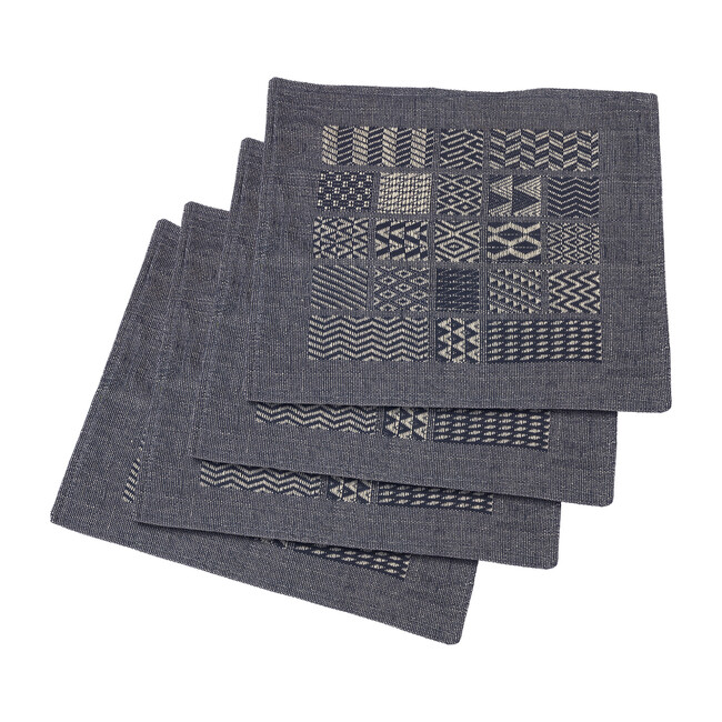 Artisan Hand Loomed Place Mat Set, Indigo Blocks