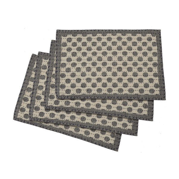 Artisan Hand Loomed Place Mat Set, Grey Dots