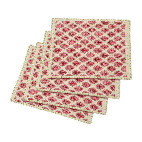 Artisan Hand Loomed Place Mat Set, Red with Green Stitching