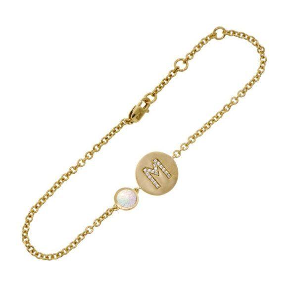 14k Yellow Gold Personalized Birthstone Bracelet, Opal