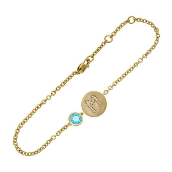 14k Yellow Gold Personalized Birthstone Bracelet, Blue Topaz