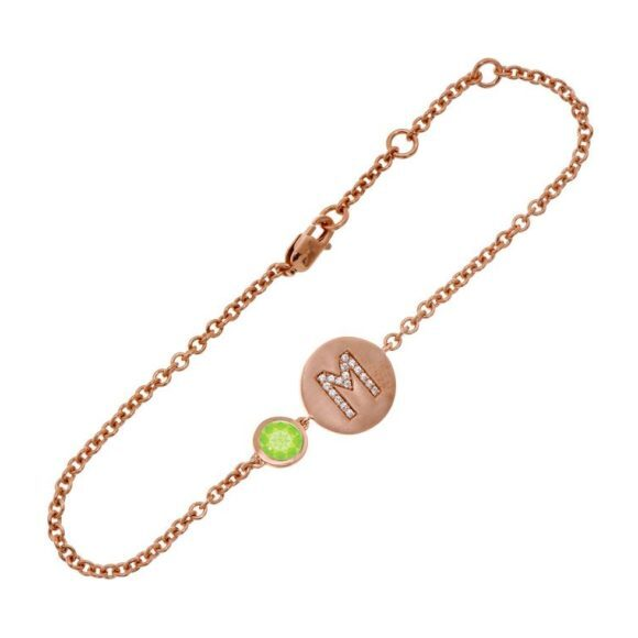 14k Rose Gold Personalized Birthstone Bracelet, Peridot