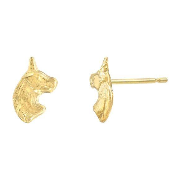 14k Gold Unicorn Stud Earrings
