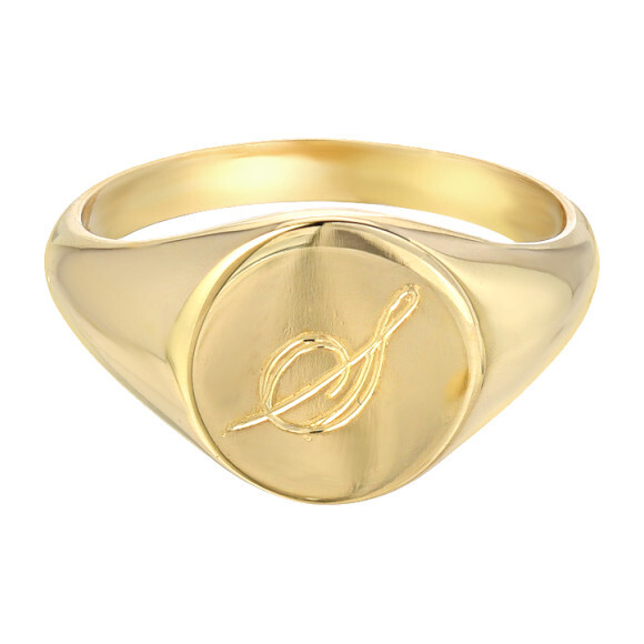 14k Gold Small Engravable Signet Ring