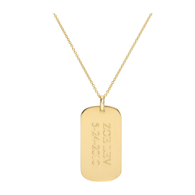 14k Gold Small Engravable Dog Tag Necklace
