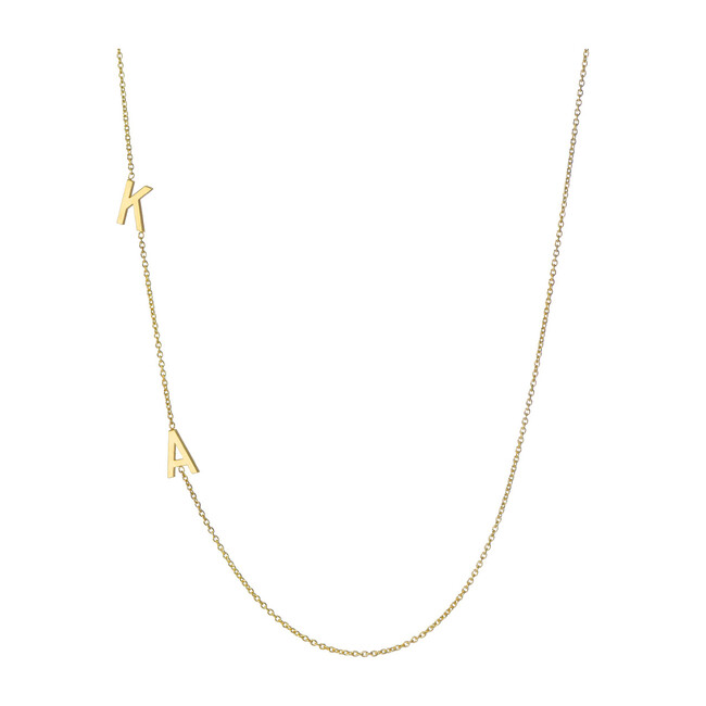 14k Gold Multiple Asymmetrical Initial Necklace