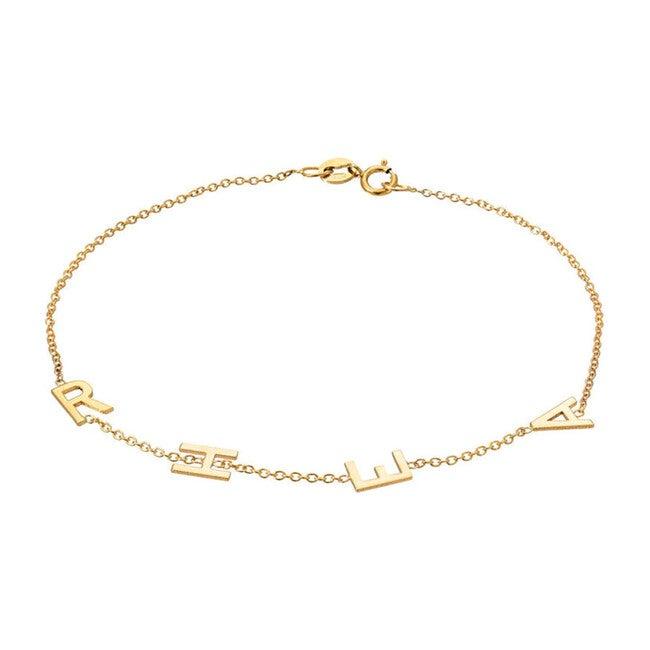 14k Gold Multiple Initial Bracelet