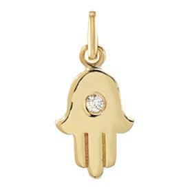 14k Gold Hamsa with Tiny Diamond Pendant