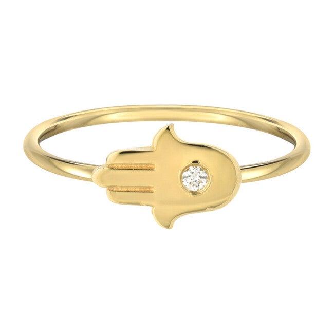 14k Gold Diamond Hamsa Ring
