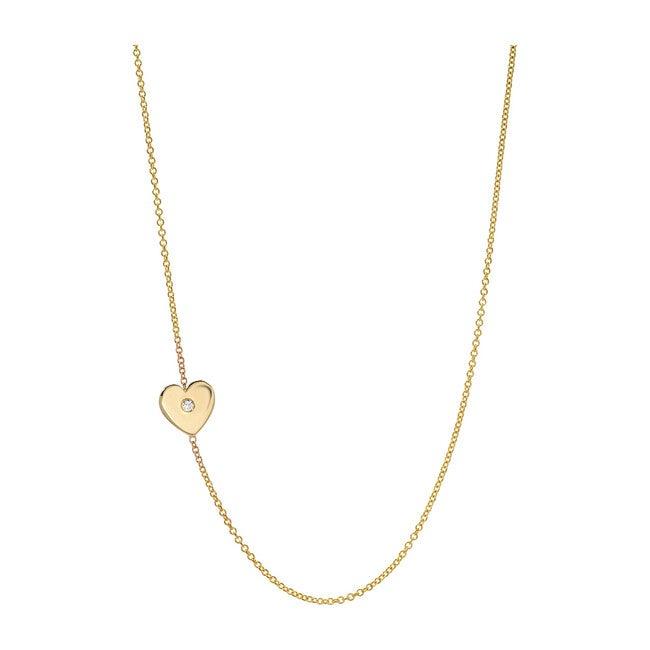 14k Gold Asymmetrical Heart with Tiny Diamond