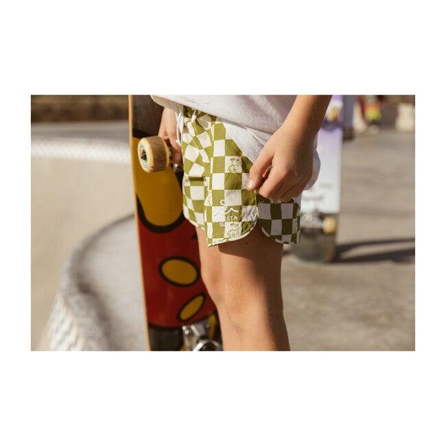 Seaesta Surf x Peanuts® Checkerboard Boardshorts, Moss