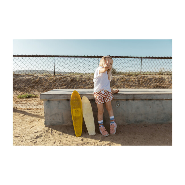Seaesta Surf x Peanuts® Checkerboard Boardshorts, Terracotta