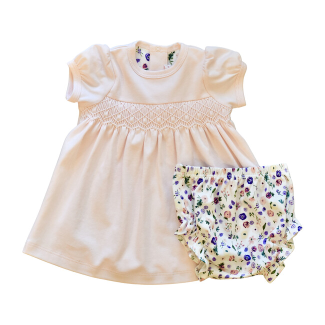 Clementine Peach Floral Smocked Dress