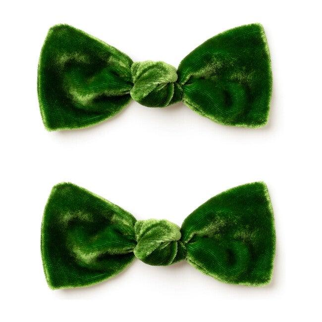 Mini Bow Set, Green Velvet - Bows - 1