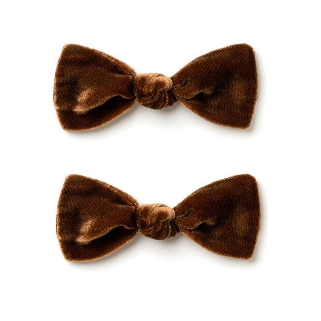 Mini Bow Set, Brown Velvet