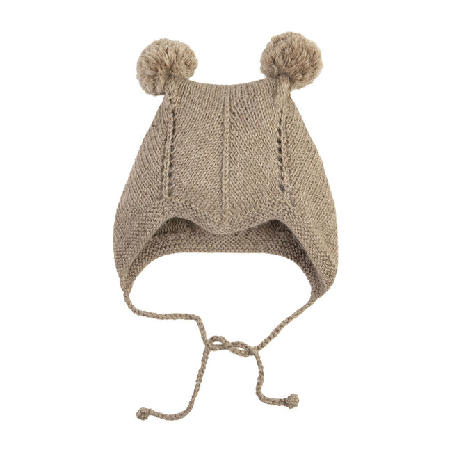 Bonnet With 2 Pom Poms, Taupe