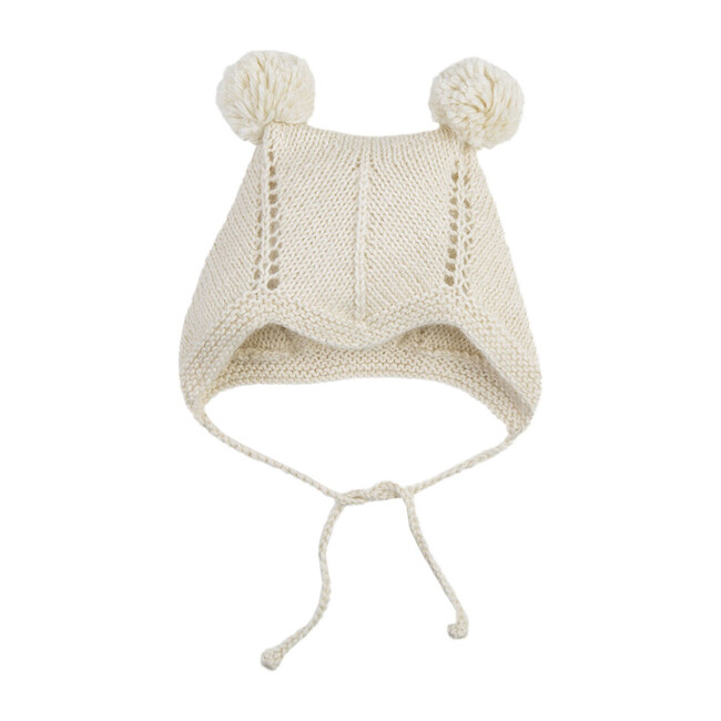 Bonnet With 2 Pom Poms, Cream