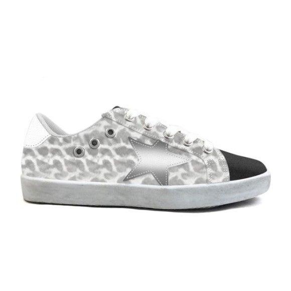 Mia Star Lace Sneaker, Leopard Print - Sneakers - 1